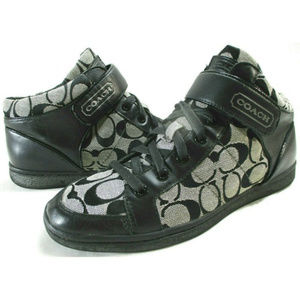 COACH Zoey Black Leather Sig C Jacquard High Tops